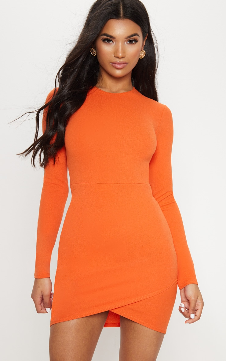 Bright Orange Long Sleeve Wrap Skirt Bodycon Dress 1