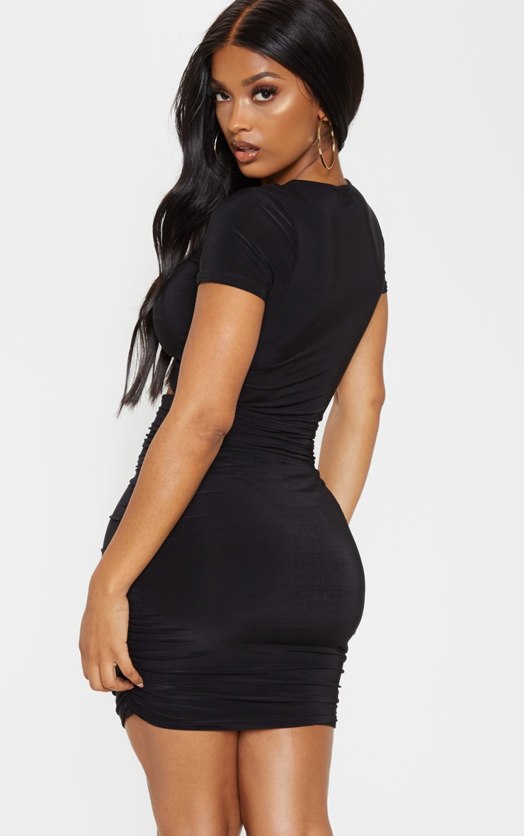 Shape Black Ruched Front Cut Out Bodycon Dress 2