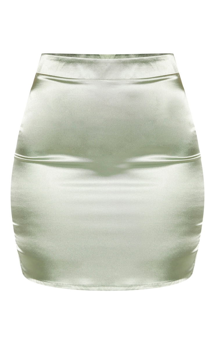 Sage Green Satin High Waisted Mini Skirt 3