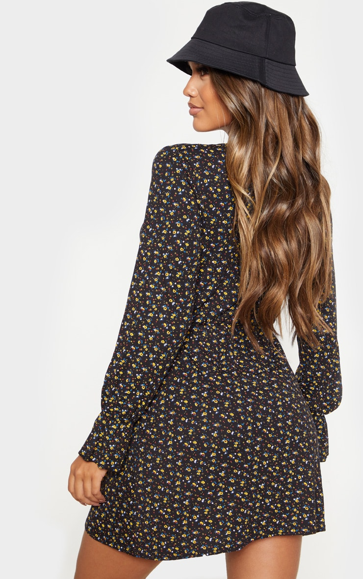 Black Ditsy Floral Tie Front Flare Sleeve Shift Dress 2