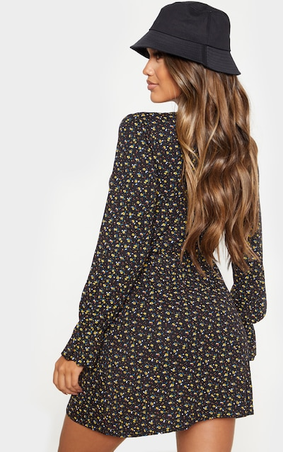 Black Ditsy Floral Tie Front Flare Sleeve Shift Dress