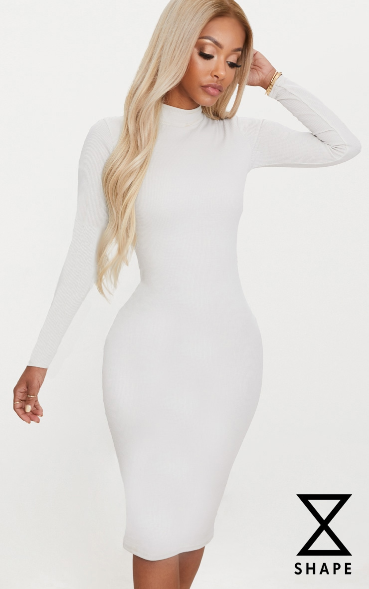Shape Stone Ribbed High Neck Midi Dress 1