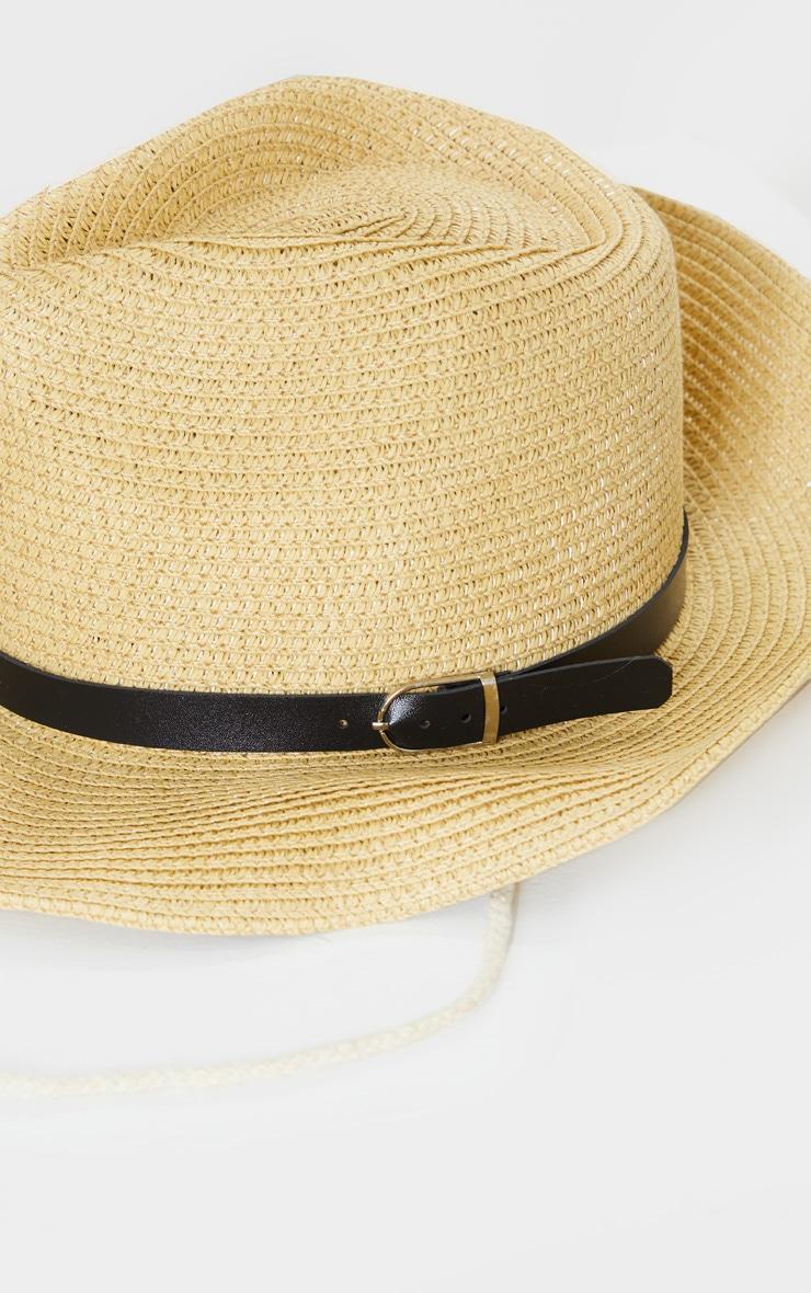 Tan Straw Western Fedora Hat 4