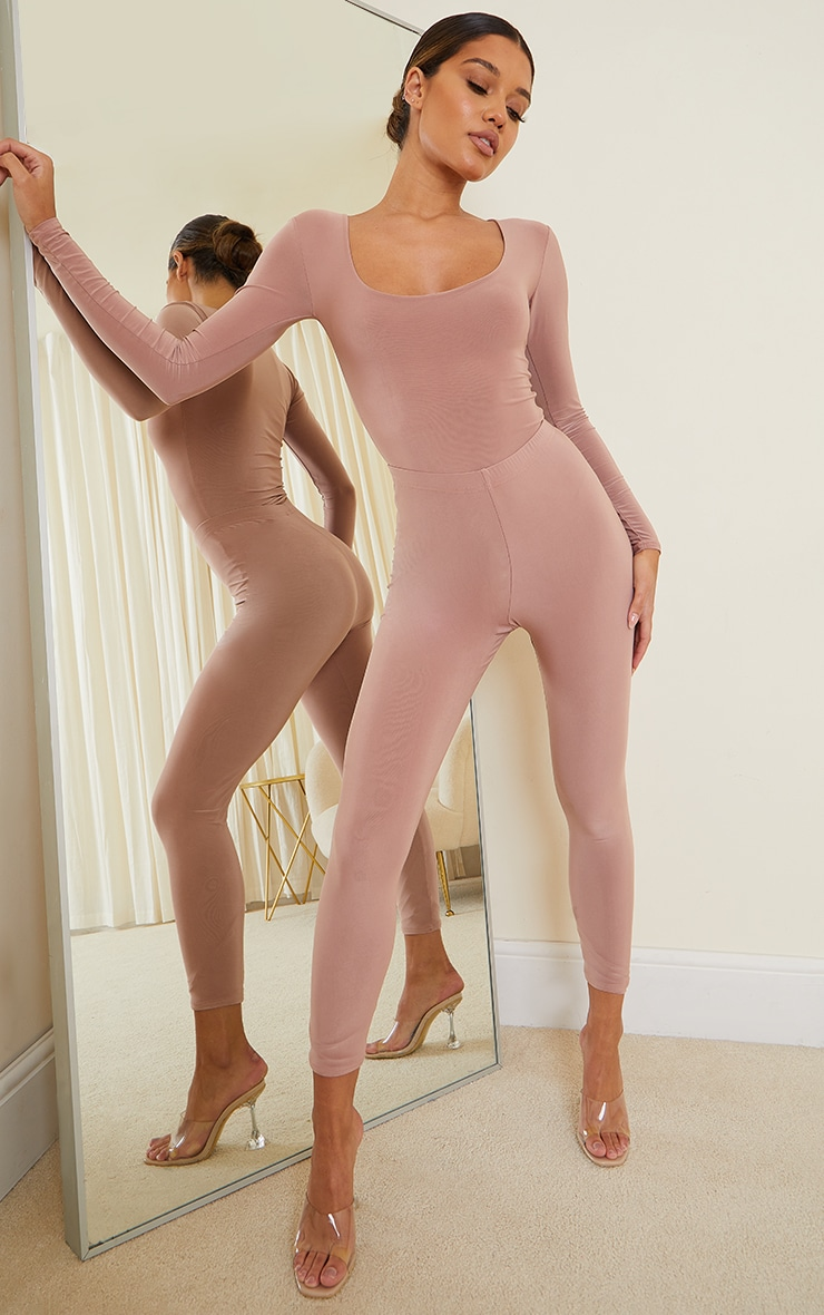 Mauve Slinky Scoop Neck Long Sleeve Bodysuit 3