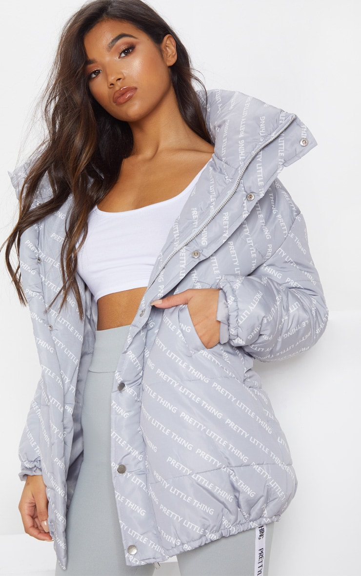Grey Print Puffer Jacket