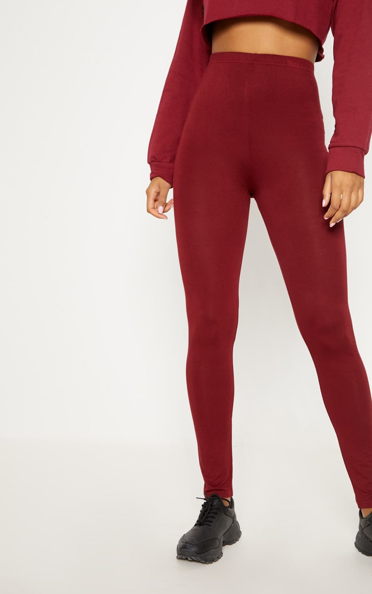 Burgundy and Taupe Basic Jersey Legging 2 Pack 2