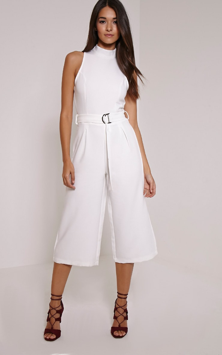 Candace White High Neck D Ring Culotte Jumpsuit 1