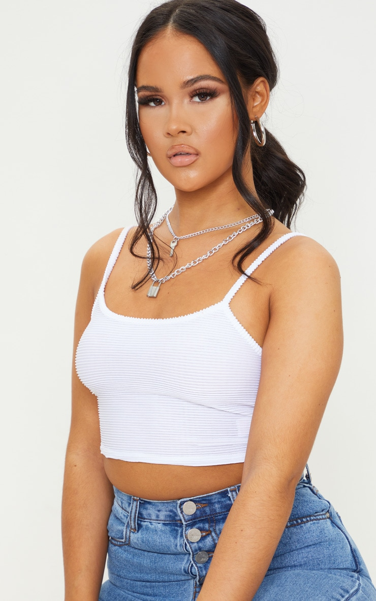 White Structured Rib Crop Cami 4