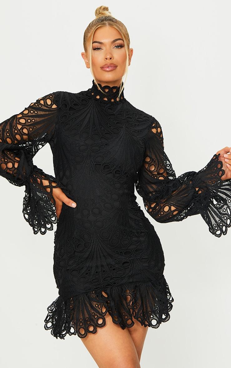 Black High Neck Lace Long Sleeve Frill Bodycon Dress 1