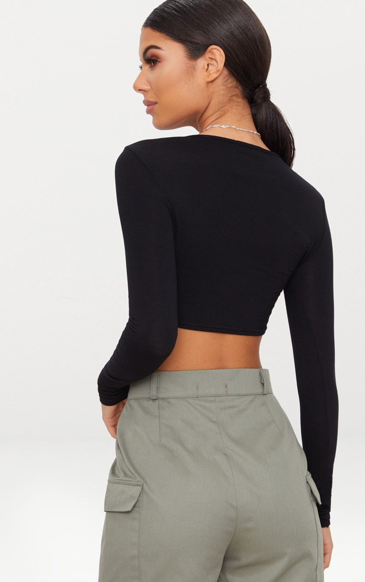 Black Long Sleeve Curved Hem Jersey Crop Top  2