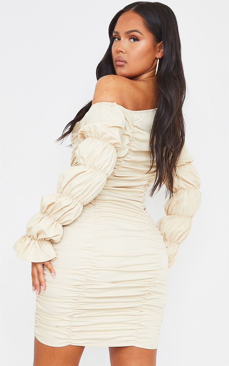 Stone Gathered Tiered One Shoulder Bodycon Dress 2