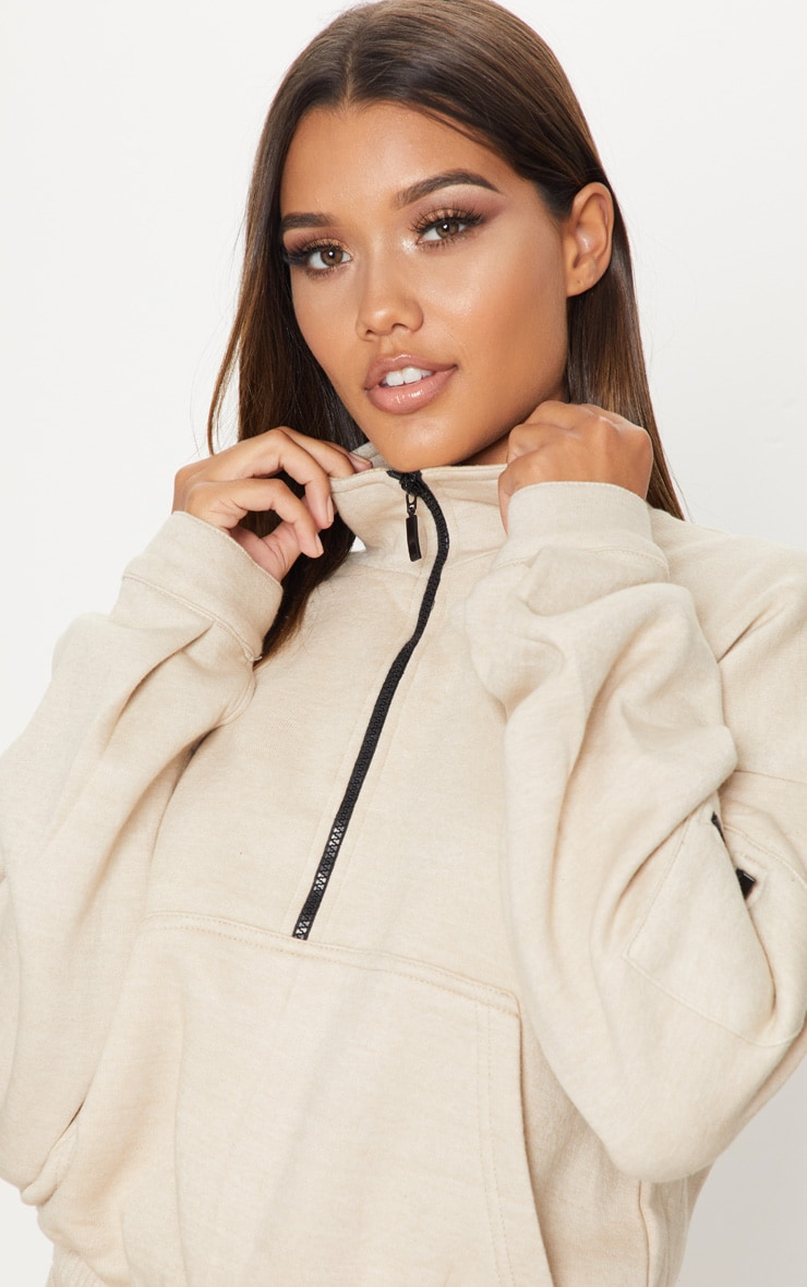 Sweat oversized sable à zip frontal 6