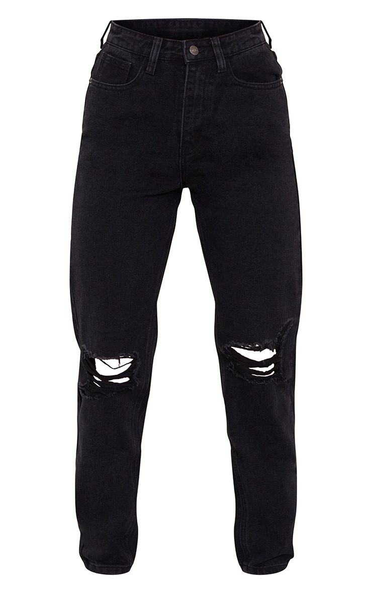 PRETTYLITTLETHING Washed Black Knee Rip Mom Jean 5