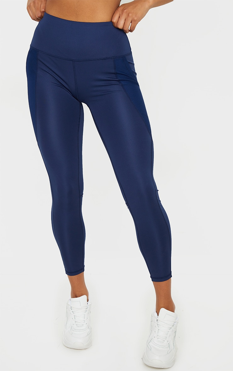 Navy Side Pocket Basic Leggings 2