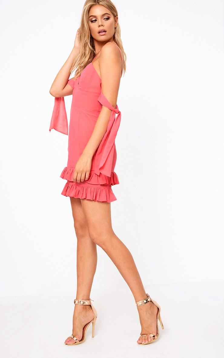 Pink Tie Sleeve Frill Sleeve Bodycon Dress 4