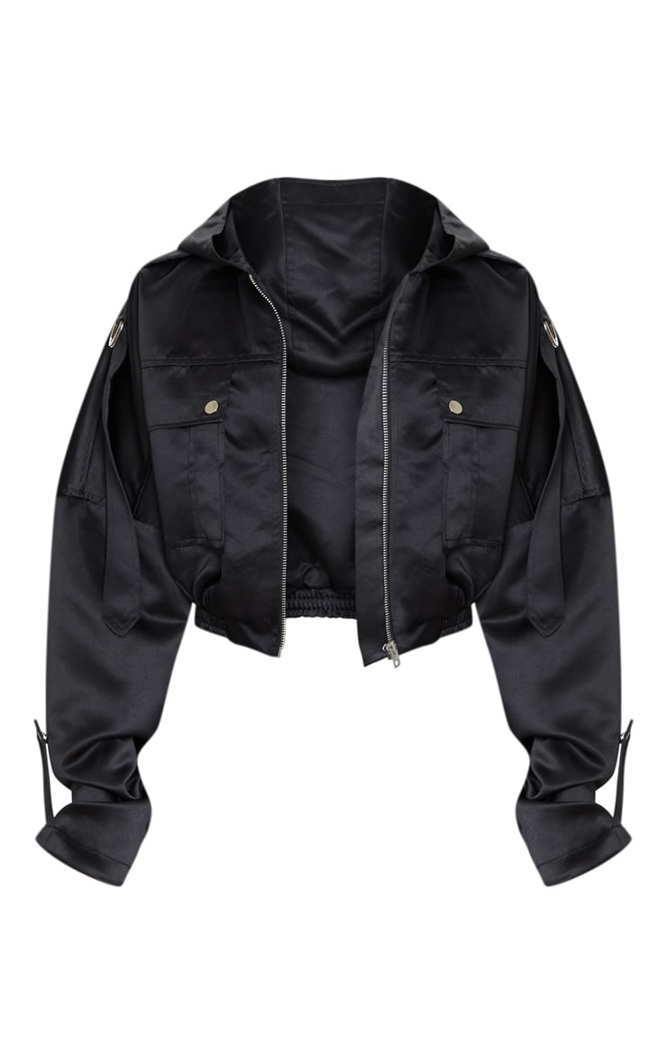 Black Satin Oversized Hooded Pocket Bomber Jacket 5