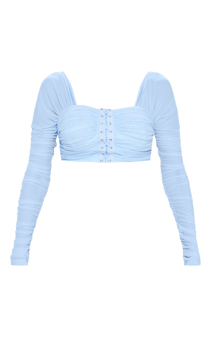 Light Blue Ruched Lace Up Detail Mesh Crop Top 3