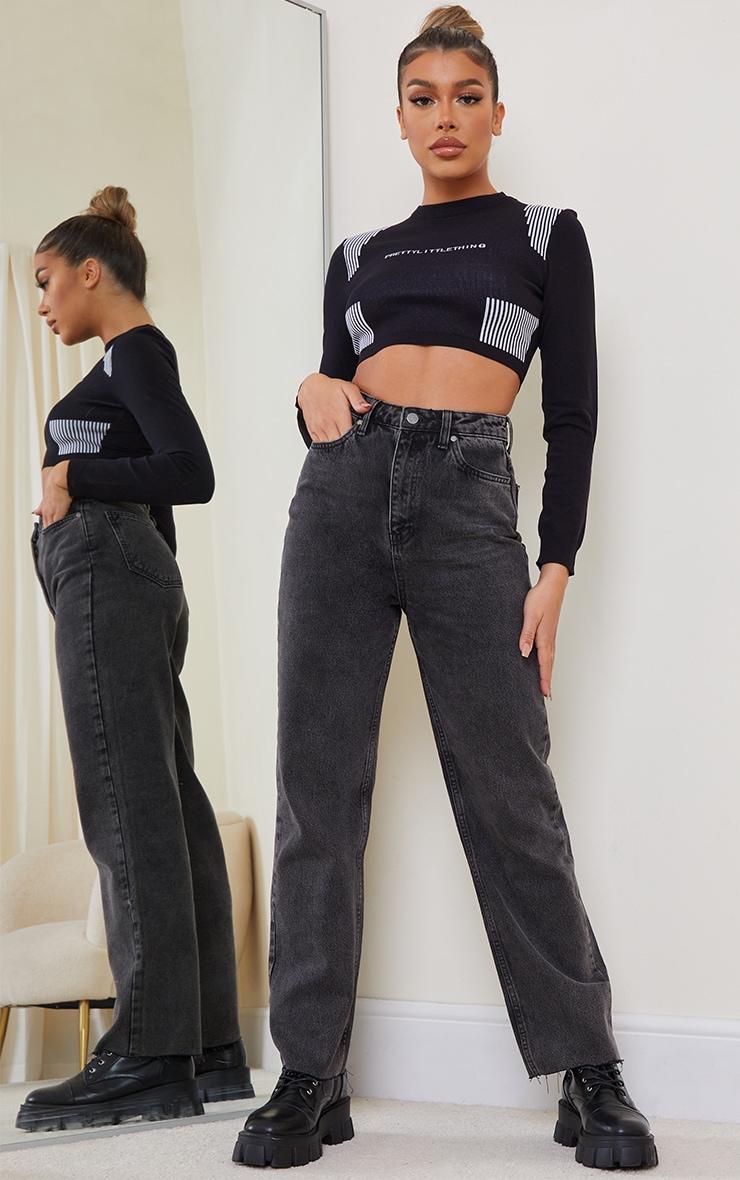 Black Acid Wash High Waisted Straight Leg Jeans 1