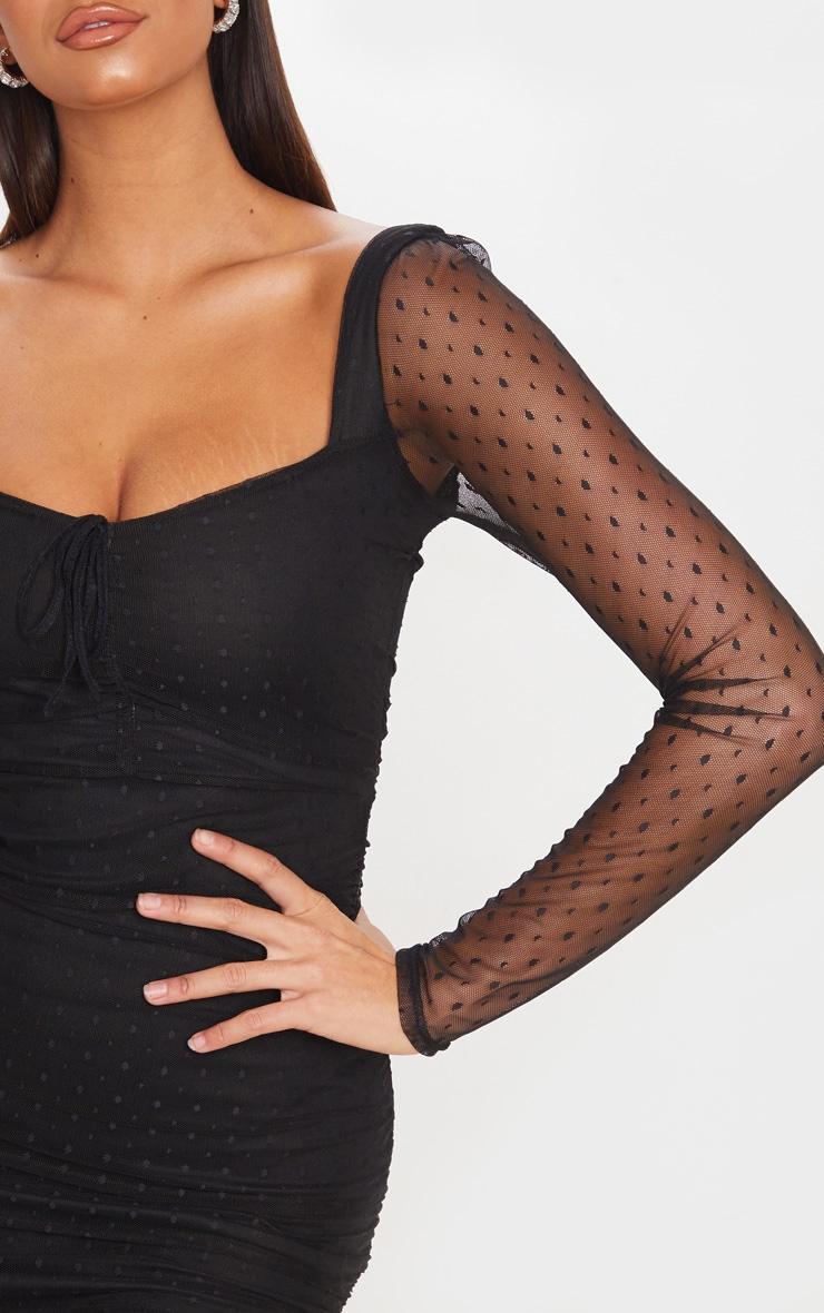 Black Dobby Mesh Ruched Long Sleeve Midi Dress 5