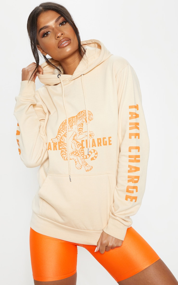 Sand Take Control Slogan Oversized Hoodie 1