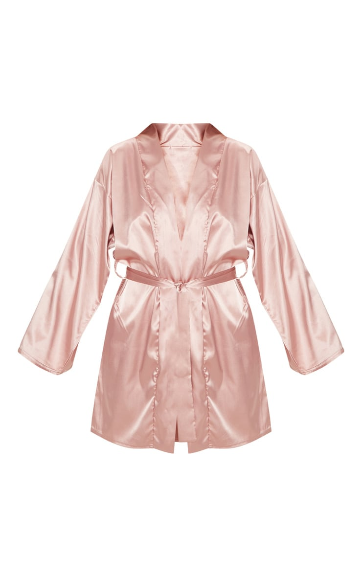 Pale Pink Bridesmaid Embroidered Back Satin Robe 3