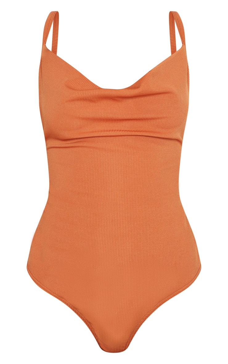 Burnt Orange Rib Cowl Neck Bodysuit 3