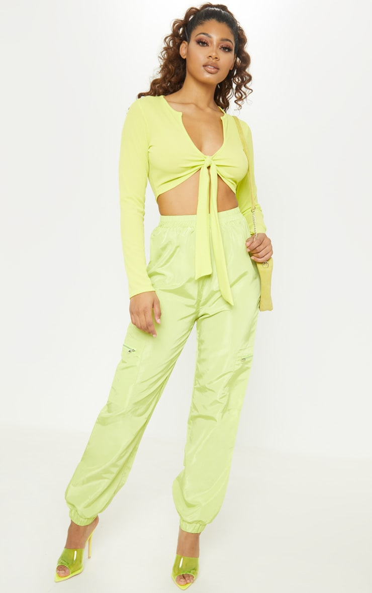 Tall Neon Lime Zip Detail Shell Joggers 1