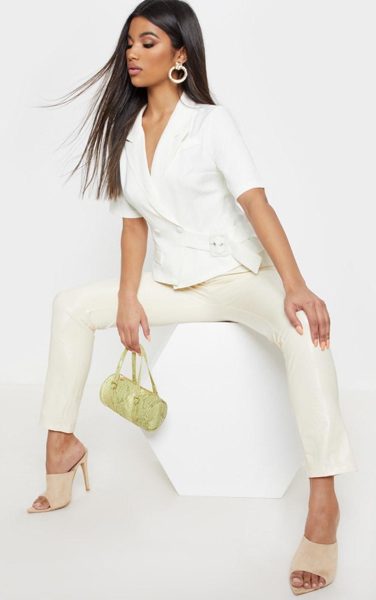 Cream Short Sleeve Military Shirt 4