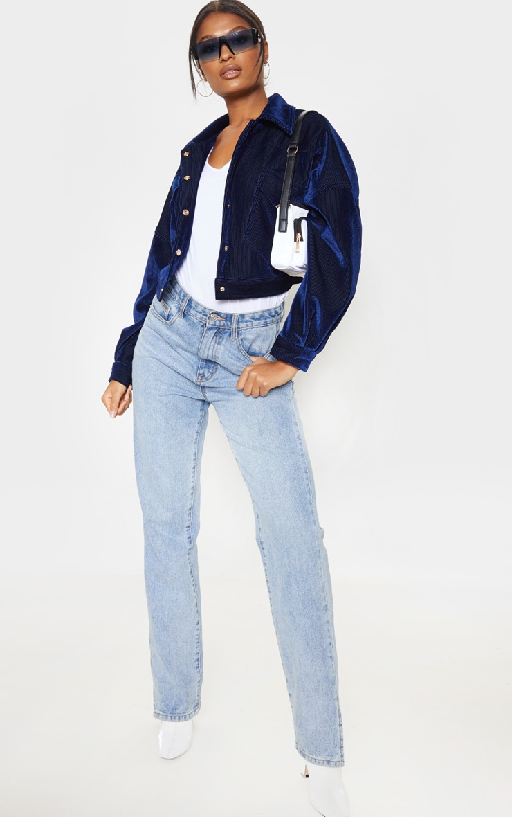 Navy Cropped Cord Oversized Trucker Jacket  1
