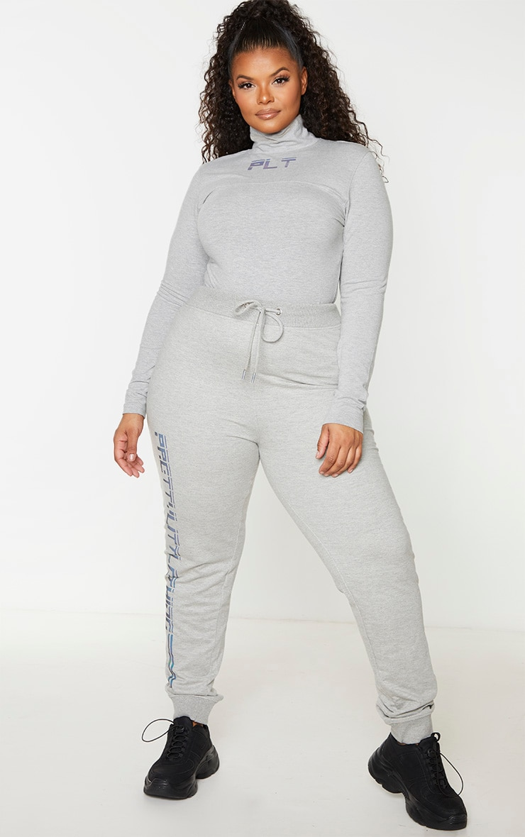 PRETTYLITTLETHING Plus Grey Reflective High Neck Top 3