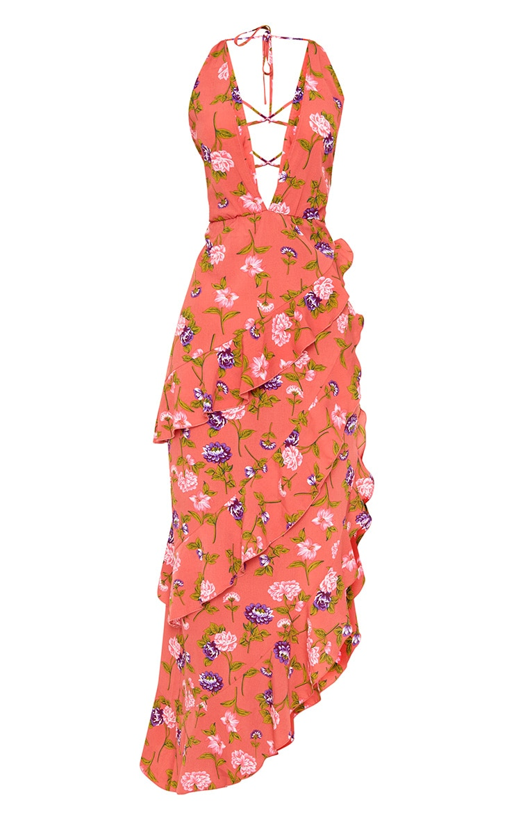 Coral Floral Plunge Maxi Dress 3
