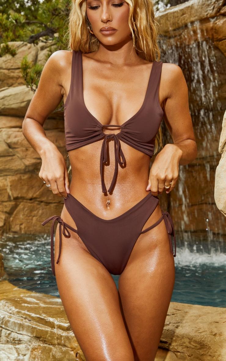 Chocolate Tie Side High Leg Bikini Bottoms 1