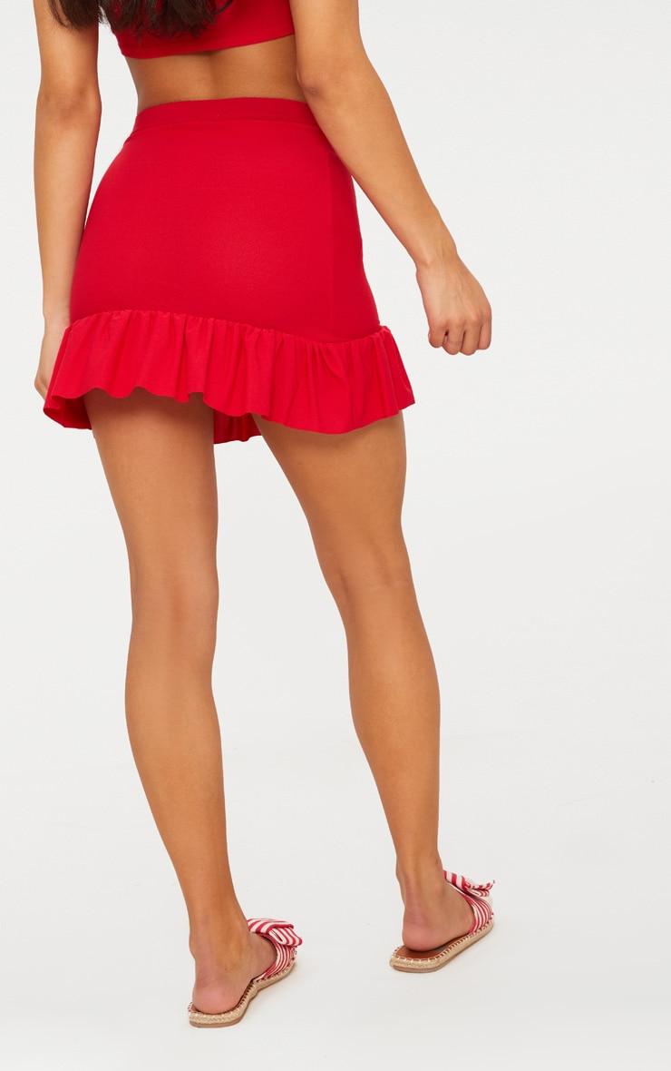 Red Frill Hem Mini Skirt  4