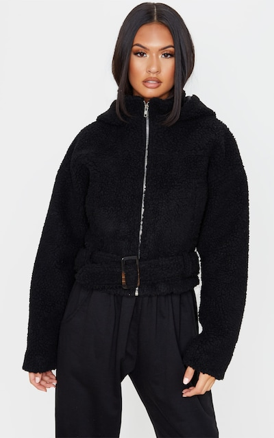 Black Borg Hooded Belt Detail Jacket