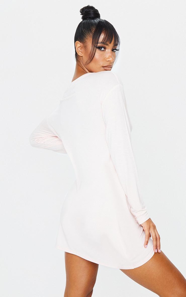 Peach Button Up Detail Long Sleeve Smock Dress 2