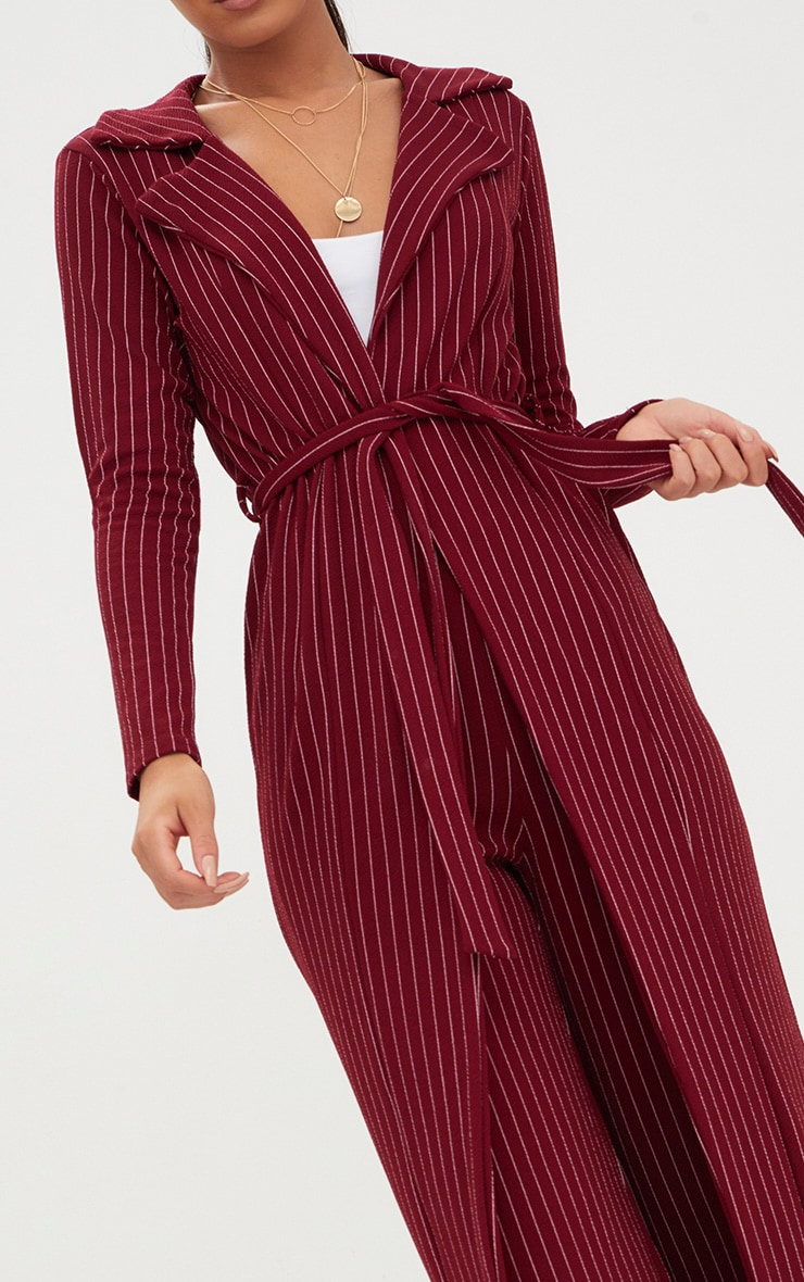 Burgundy Pinstripe Duster Jacket  4