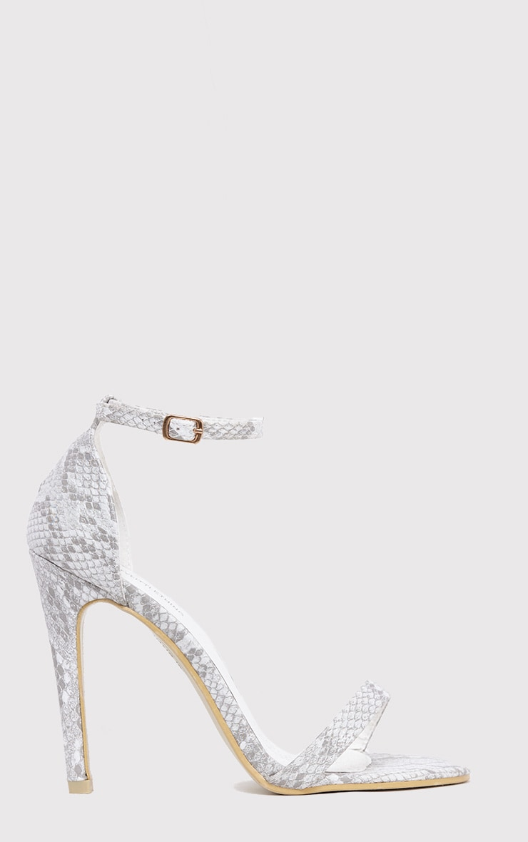 Clover White Snake Effect Strap Heeled Sandals 1