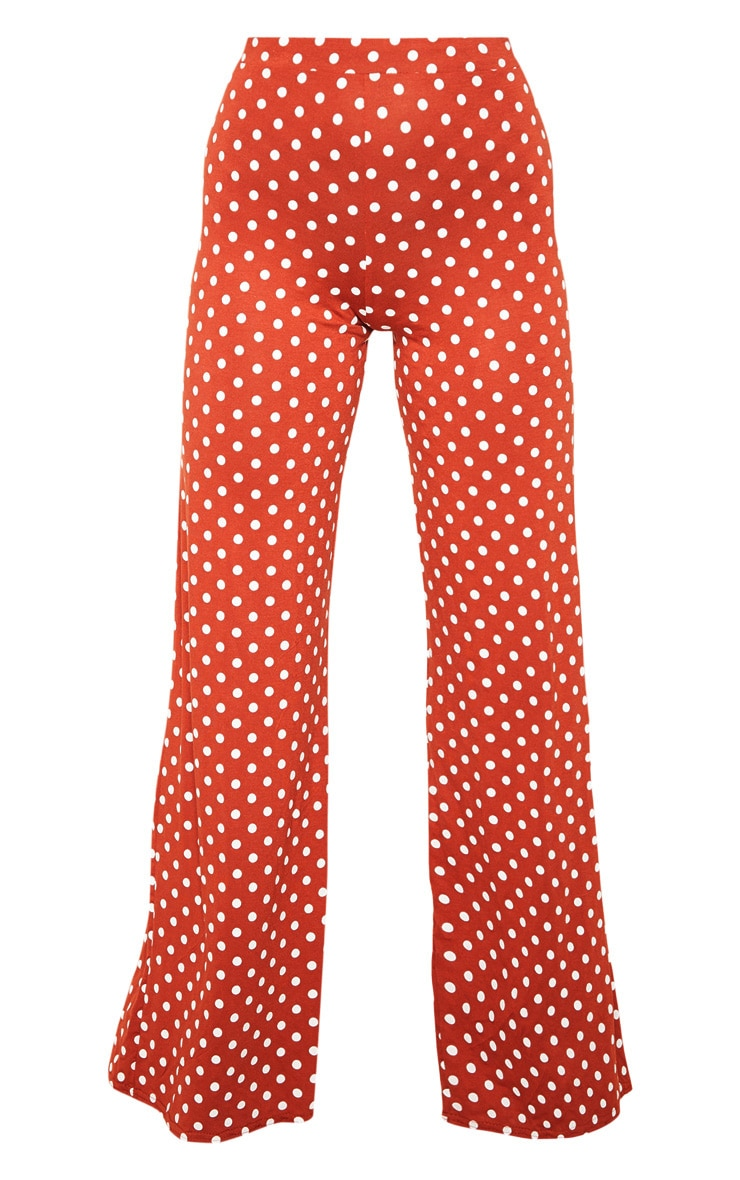 Rust Polka Dot Basic Wide Leg Trouser 3
