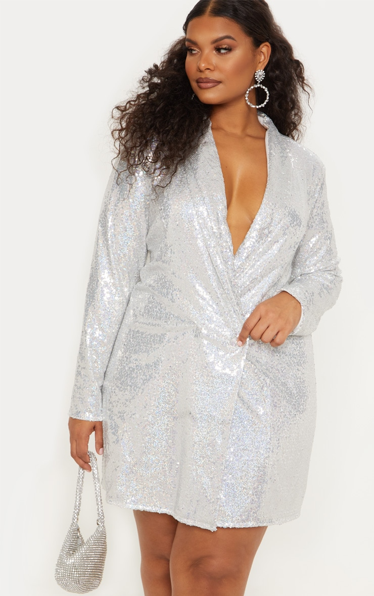 Plus Silver Sequin Blazer Dress 3