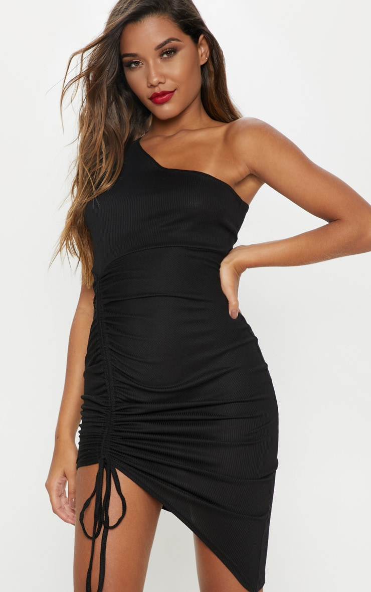 2cfef758e05 Black Rib One Shoulder Ruched Bodycon Dress image 1