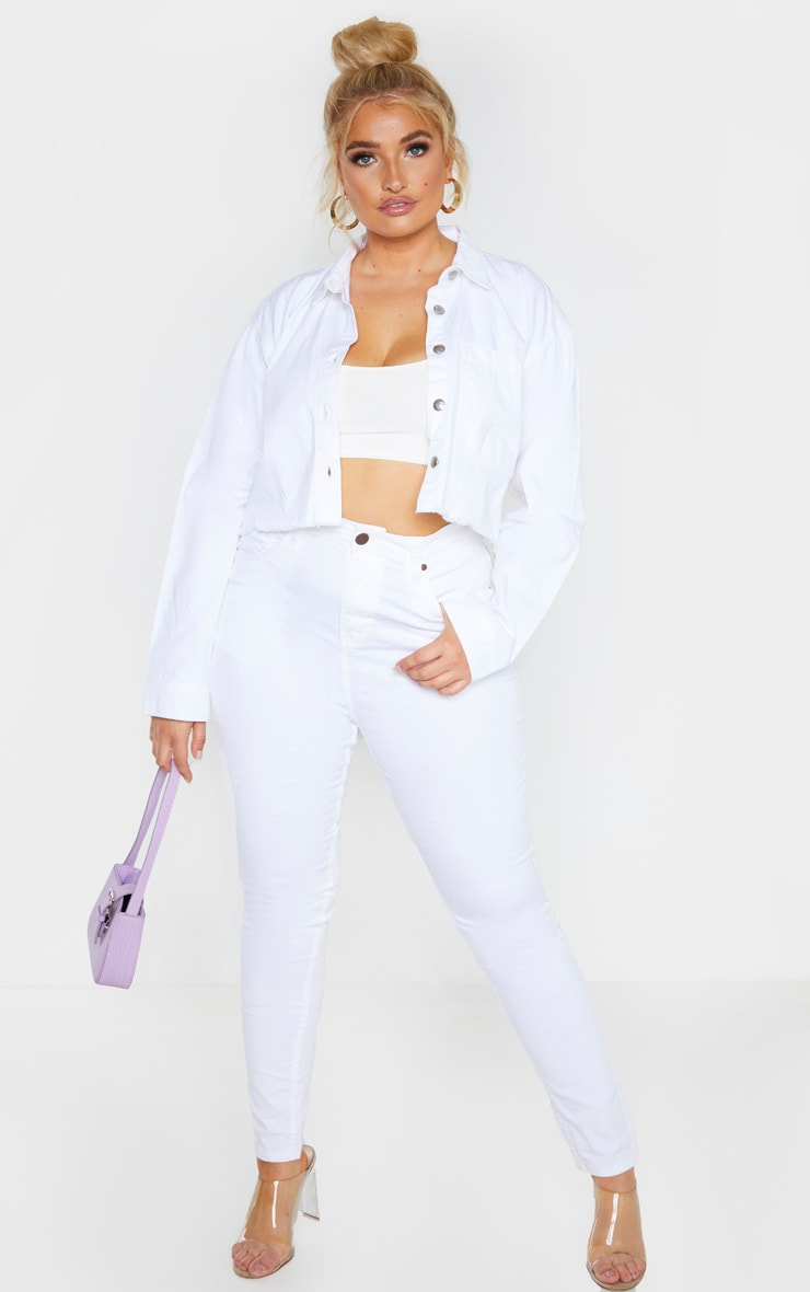 Plus White Fray Hem Cropped Denim Shirt  4