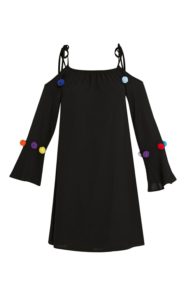 Erin Black Pom Pom Detail Swing Dress 3