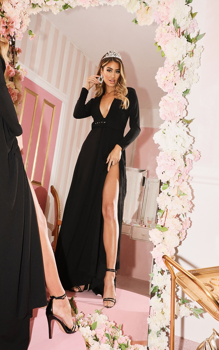 Black Long Sleeve Plunge Belted Maxi Dress