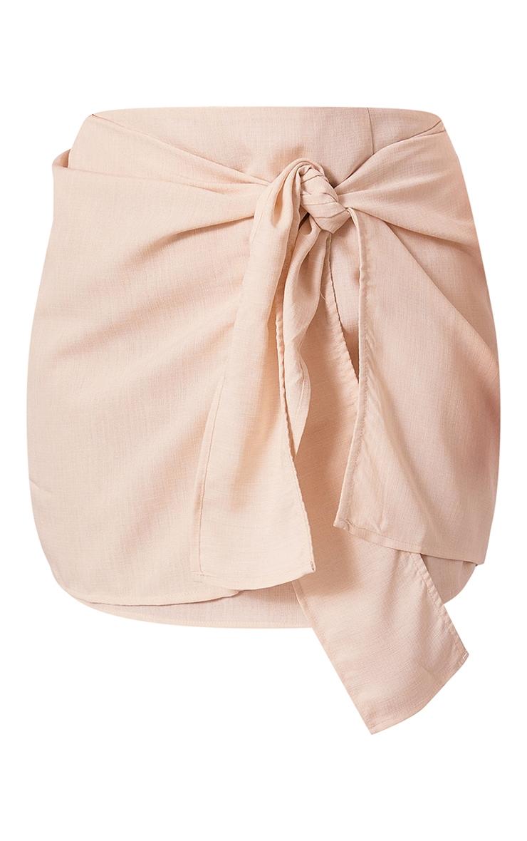 Plus Cream Woven Tie Front Bodycon Skirt 6