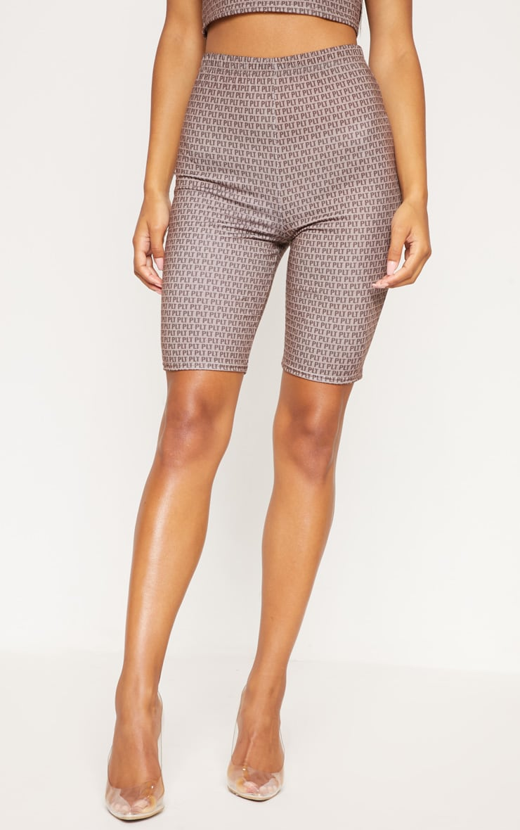 PRETTYLITTLETHING Mocha Printed Jersey Cycling Shorts 2