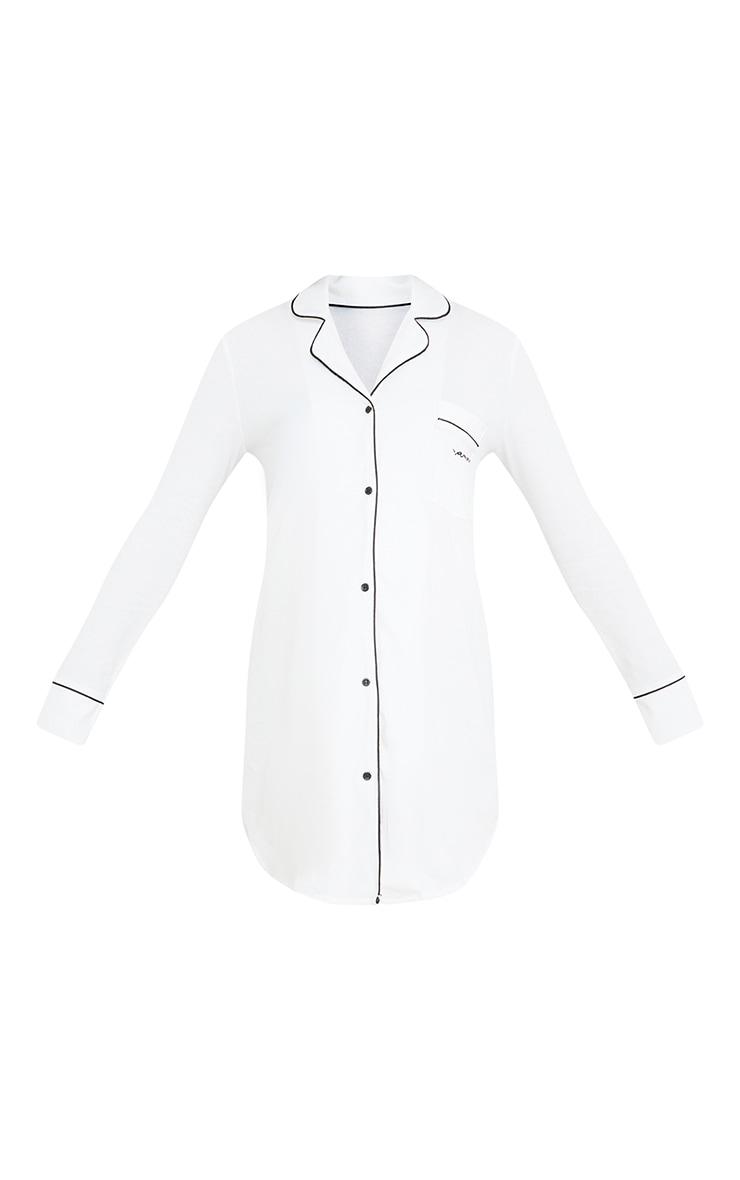 Maternity White Mama Oversized Shirt Dress 5