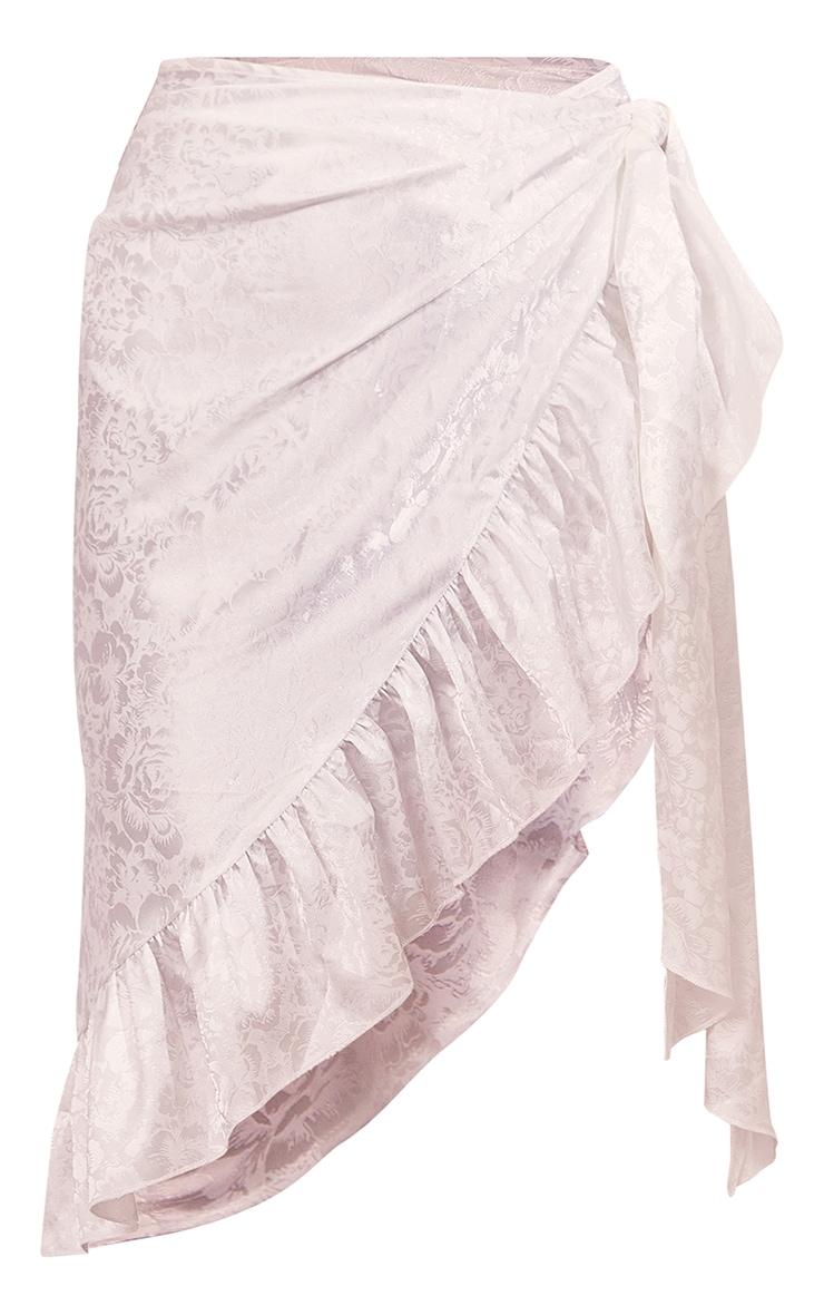 White Printed Satin Frill Hem Tie Waist Midi Skirt 5