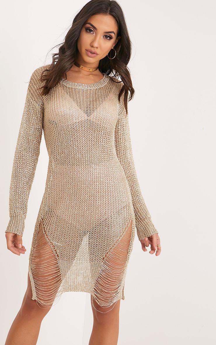 Yulissa Gold Metallic Knit Cobweb Distress Dress 1