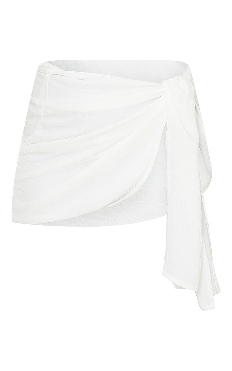 White Linen Look Wrap Mini Skirt 6