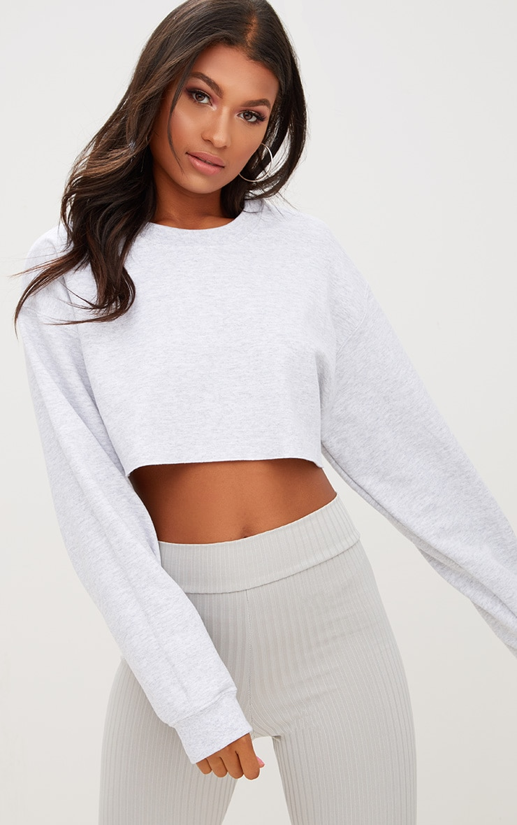 ASH GREY ULTIMATE CROPPED SWEATER